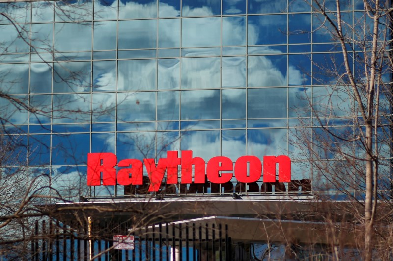 A sign marks the Raytheon offices in Woburn