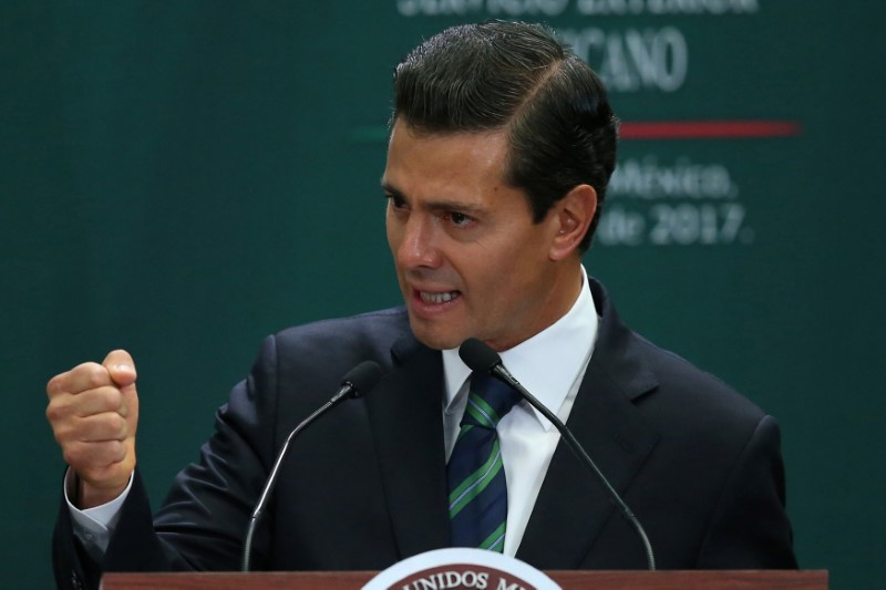 Mexico's President Enrique Pena Nieto delivers a speech during an event to recognize the contributions made by members of the Mexican foreign service, in Mexico City