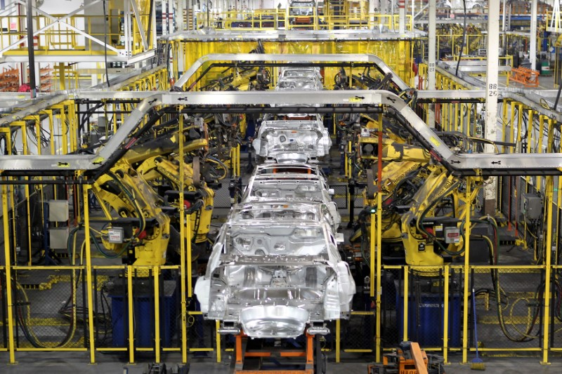 FILE PHOTO: Chevrolet Cruze chassis move along the assembly line at the General Motors Cruze assembly plant in Lordstown