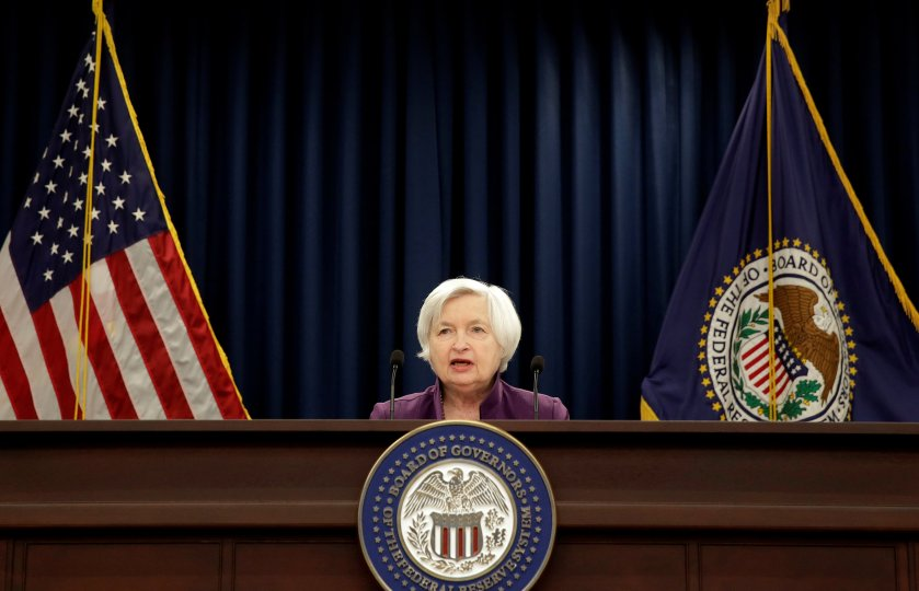 FILE PHOTO - Federal Reserve Board Chairwoman Janet Yellen speaks during a news conference after the Fed releases its monetary policy decisions in Washington